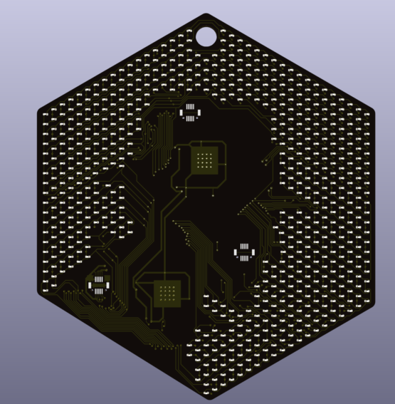 LED board rendering, 3D view of LEDs on black PCB